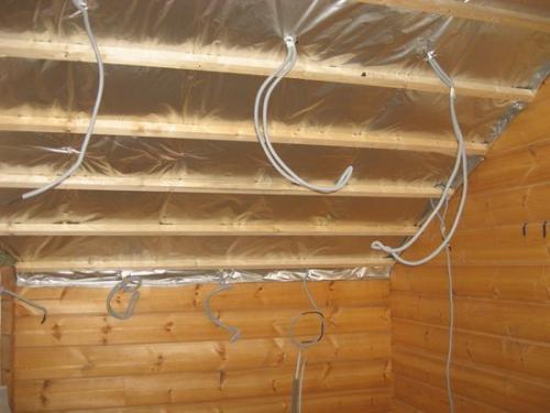 Отделка потолка гипсокартоном в деревянном доме. Вариант 2: по деревянной обрешетке